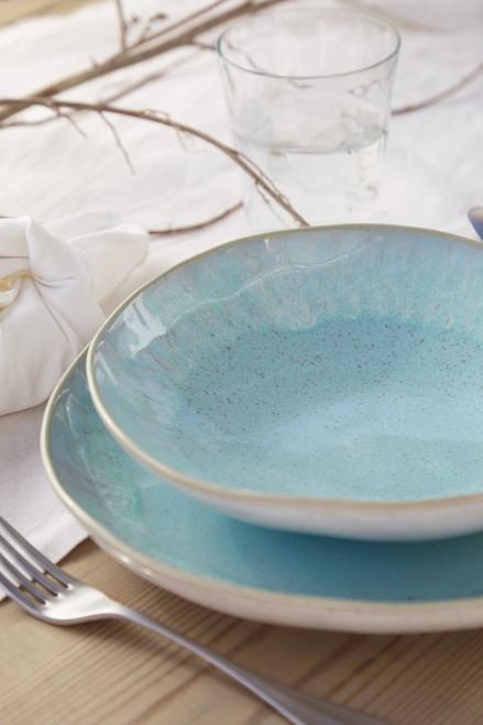 Eivissa Sea Aqua 9 inch Pasta Bowls table view