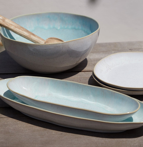 Eivissa Sea Aqua Large Oval Platter with smaller platter and bowl