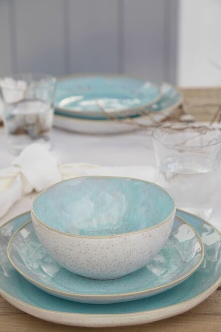 Eivissa Sea Aqua Dinner Plates with cereal bowls and salad plates