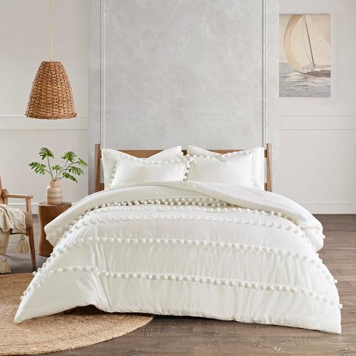 Leona Ivory Pom Pom Comforter Set