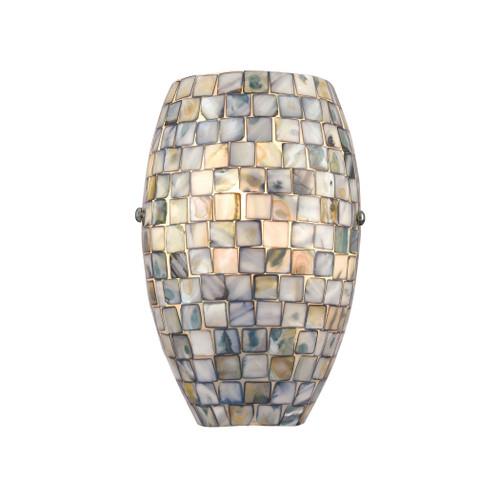 Capri 1-Light Sconce in Satin Nickel with Glass/Gray Capiz Shells