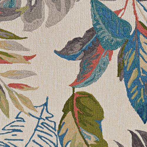Teal Palms Tropical Indoor-Outdoor Rug close up