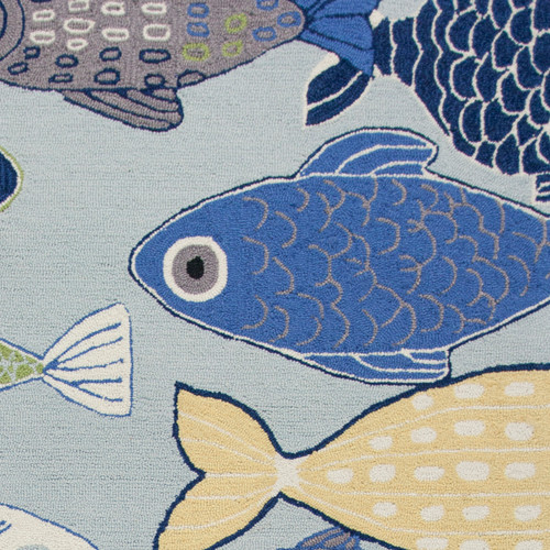 Sea of Fish Hand-Hooked Area Rug  close up