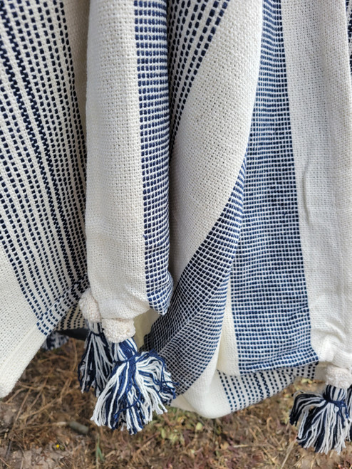 Point Arena Striped Tasseled Throw close up throw