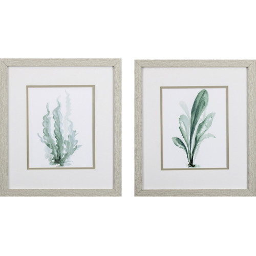 Teal Green Under the Sea Botanical Prints - Set of Two