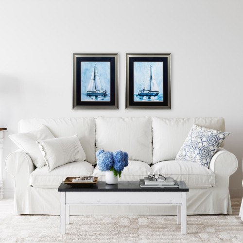 Silver Framed Watercolor Sailboat Prints- Set of Two lifestyle