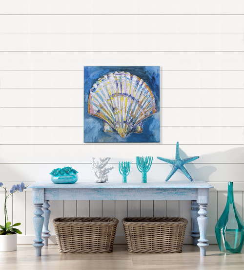 Tropical Bright Scallop Shell Canvas Art room example