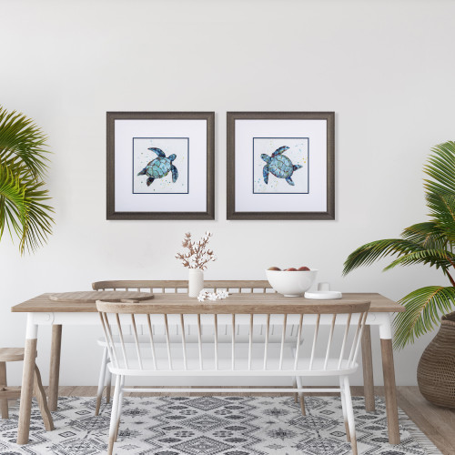 Bubbly Blue Turtle Prints- Set of Two lifestyle