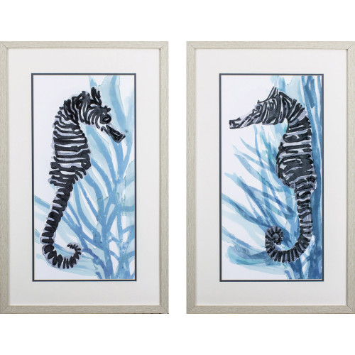 Zebra Seahorse- Set of Two
