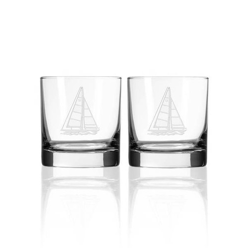Sailboat Etched Whiskey Decanter and Rocks Glass Set rocks glasses