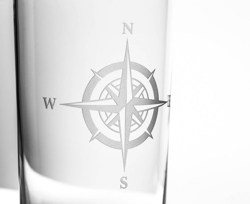 Compass Rose Etched Rocks Glass Set close up image