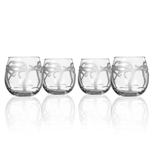 Palm Tree Engraved Stemless Tumblers - Set of 4