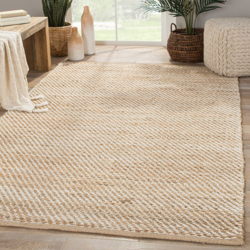 Canterbury Natural and White Diagonal Woven Area Rug room view