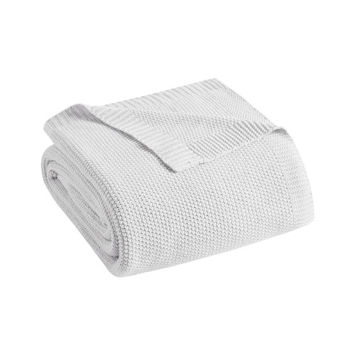Bree Mist Grey Knit Throw folded