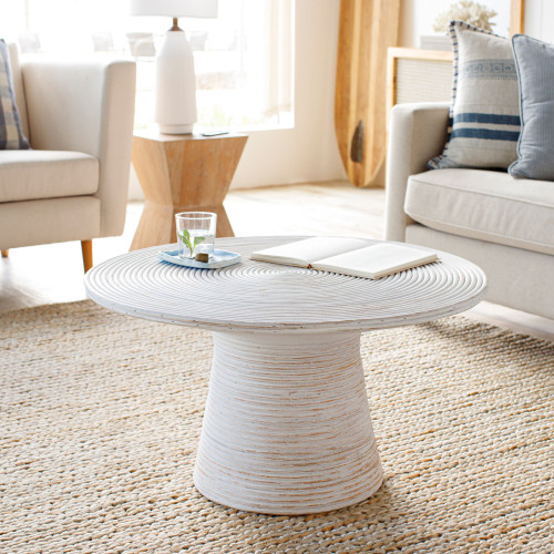 Balinese White Rattan Coffee Table living room view