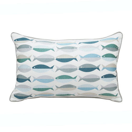 Fish Pattern Embroidered Pillow