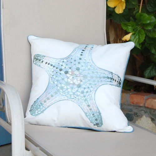 Playful Sea Glass Starfish Embroidered Pillow deck view