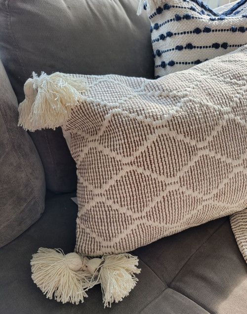 Cecilia Driftwood and Cream Pillow with Point Cabrillo Pillow