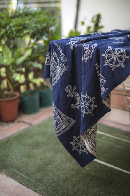 Sailboat Reversible Knit Throw Blanket outdoor view