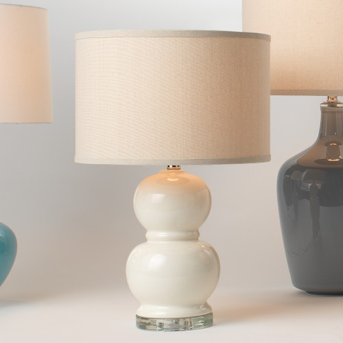 Bubble Table Lamp in Cream lifestyle with light on