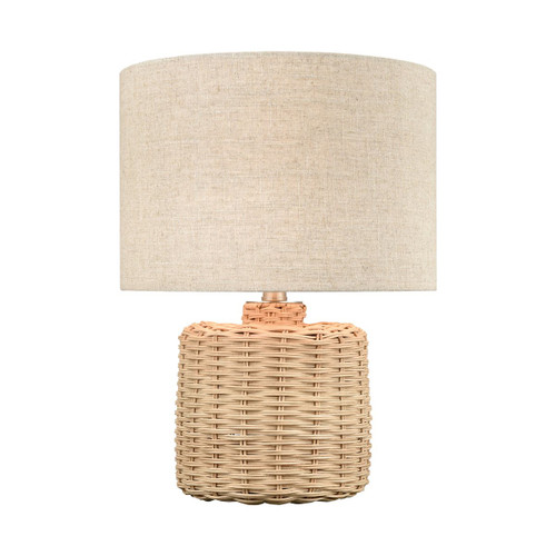 Reyes Woven Wicker Accent Lamp light on