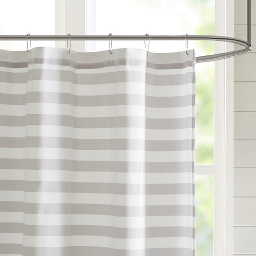 Beach Grey Ombre Striped Shower Curtain view 1