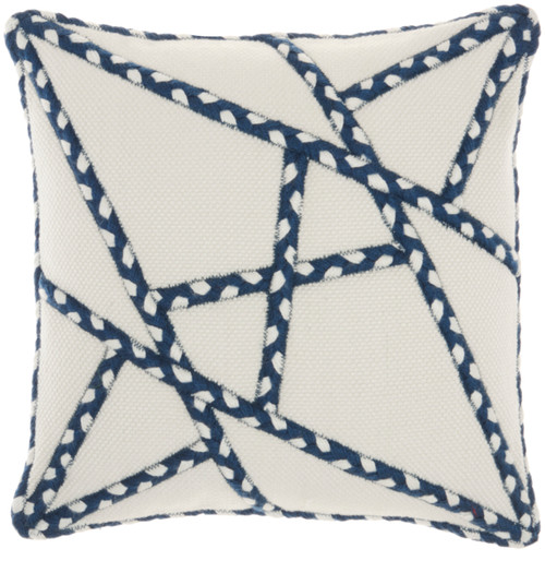 Woven Braided Geometric Square Pillow- Navy
