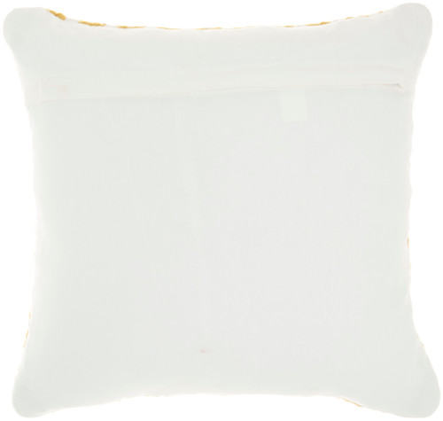 Woven Braided Geometric Square Pillow- Yellow back