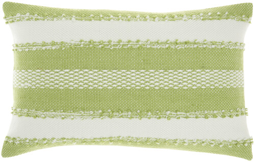 Woven Stripes and Dots Decorative Green Throw Pillow - Rectangle