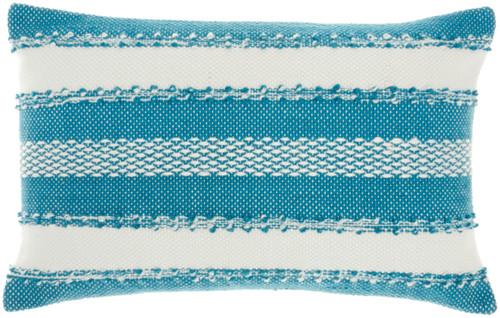 Woven Stripes Decorative Turquoise Throw Pillow - Rectangle