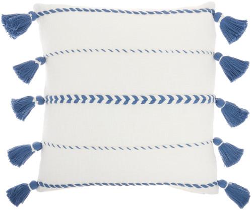 Life Styles Braided Stripes Tassel Blue Throw Pillow