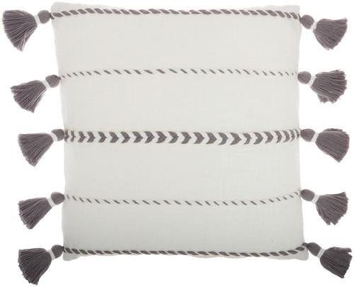 Life Styles Braided Stripes Tassels Grey Throw Pillow