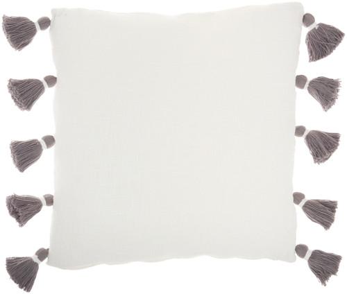 Life Styles Braided Stripes Tassel Grey Throw Pillow back