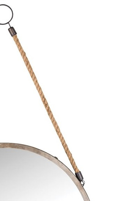 Nautical Bencrest Wall Mirror close up rope handle