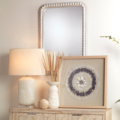 Harper Cove Table Lamp room view with Audrey Mirror and Crystal Art