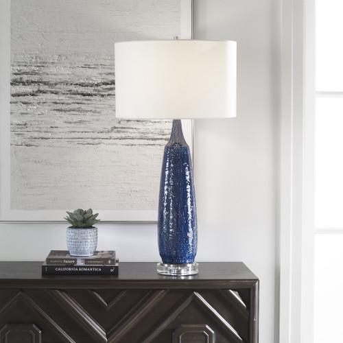 Newport Cobalt Blue Table Lamp light on