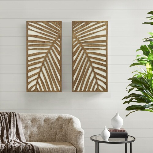 Palm Frond Carved Wall Panels - Set of Two room view