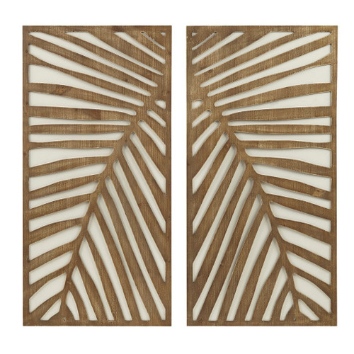 Palm Frond Carved Wall Panels - Set of Two