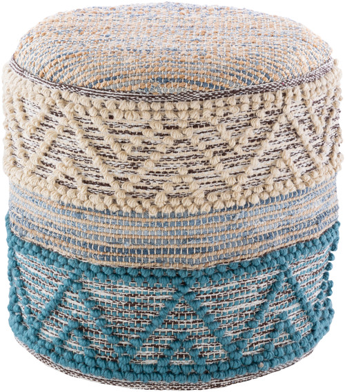 Turquoise Bay Woven Pouf