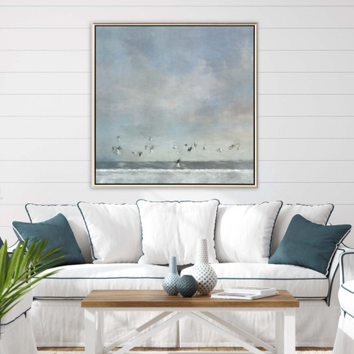 Shoreline Birds Passing Framed Print room view