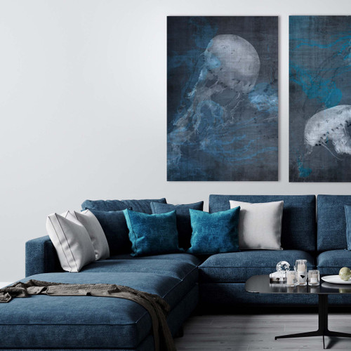 Blue Jellyfish I Gallery Wrap Print room view