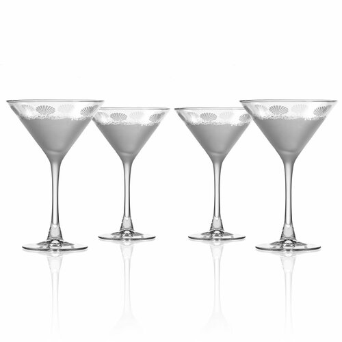 Sea Shore Frosted Martini Glasses - Set of 4