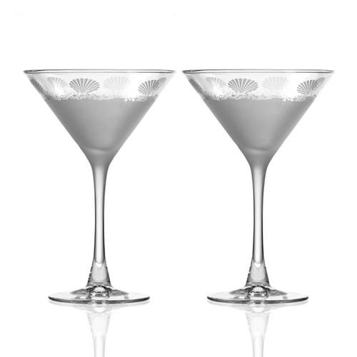 Sea Shore Frosted Martini Glasses - Set of 2