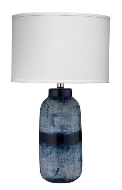 Large Indigo Batik Table Lamp with White Shade