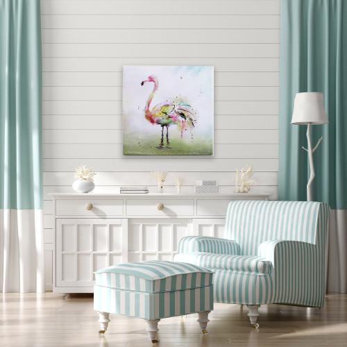 Radiant Flamingo Canvas I room example; florida room, tropic, tropical room