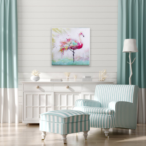 Radiant Flamingo Framed Canvas II room idea; tropic, pink, florida