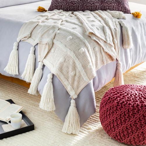 Destin Cream Tassel Throw room example
