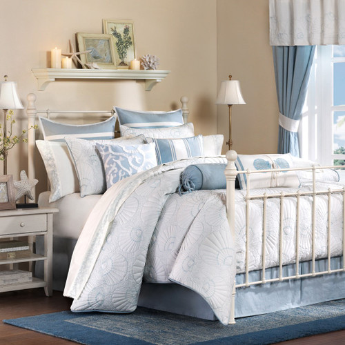 Blue and White Crystal Beach Bedding Set - Queen Size 2