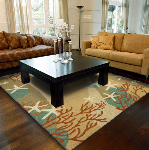 Red Coral and White Starfish Area Rug