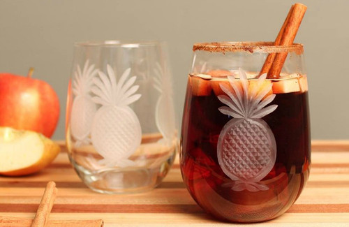Pineapple Etched Stemless Tumblers